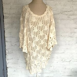 Tunic sweater open knit off white bell sleeve Lg